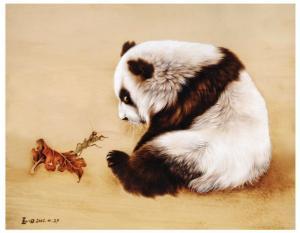 田玉田手工作品《木板烙画动物系列《熊猫》》价格5000.00元