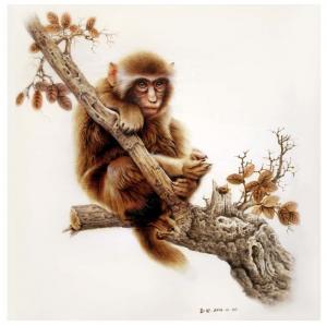田玉田手工作品《木板烙画动物系列《猴》》价格5000.00元