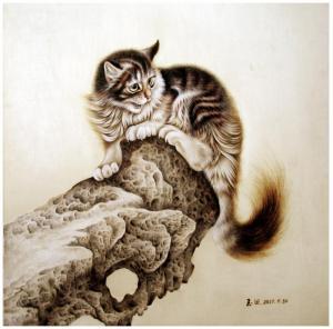 田玉田手工作品《木板烙画动物系列《猫》》价格5000.00元