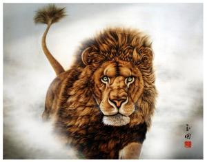 田玉田手工作品《木板烙画动物系列《狮》》价格5000.00元