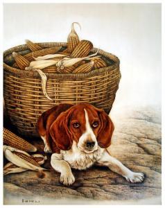 田玉田手工《木板烙画动物系列《狗》》