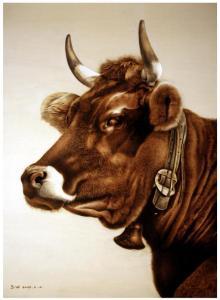 田玉田手工作品《木板烙画动物系列《牛》》价格5000.00元
