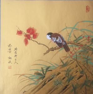 魏钦国画作品《红叶小鸟》价格880.00元