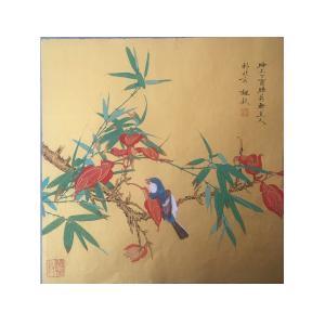 魏钦国画作品《竹子小鸟》价格880.00元