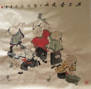 魏钦国画作品《五子夺莲》价格260.00元
