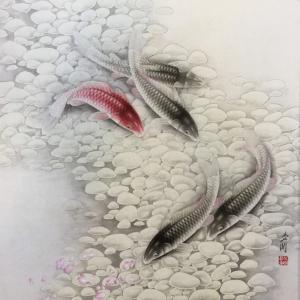 崔英阁国画作品《争上游》价格3000.00元
