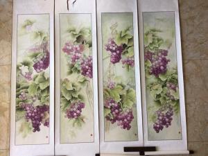 崔英阁国画作品《四条屏牡丹图》价格15000.00元
