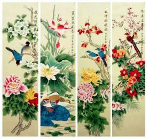 刘永红国画作品《春夏秋冬》议价