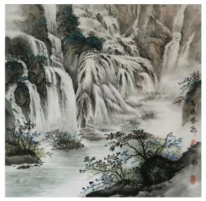 刘剑刚国画作品《万瀑齐飞》议价