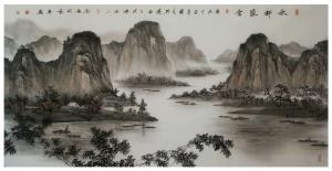 刘剑刚国画作品《《水村渔舍》》议价