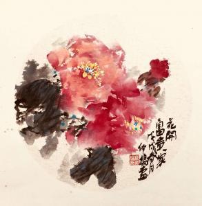 叶仲桥国画《花开富贵家》