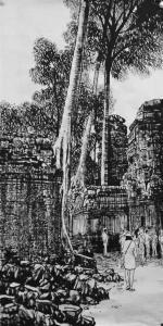 马培童国画《吴哥窟的树》