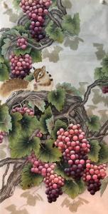 王丁国画作品《工笔葡萄》价格1000.00元