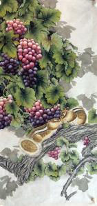 王丁国画作品《松鼠葡萄》价格1000.00元