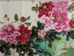 王长泉国画《花开富贵春满园》