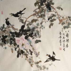田君才国画作品《八哥闹春》价格4800.00元