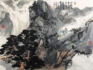 赵永利国画作品《赏瀑图》价格1500.00元