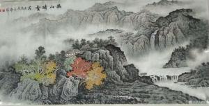 谷风国画《幽山晴雪》