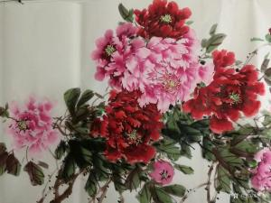 王长泉国画《牡丹 富贵迎春》