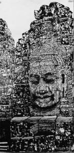 马培童国画《高棉的微笑》