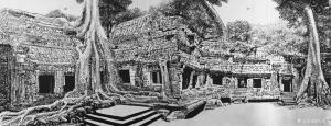 马培童国画《塔布笼寺》
