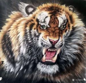 王丁国画作品《虎威》价格800.00元