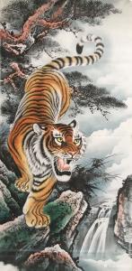 姜进清国画作品《下山虎》价格1500.00元