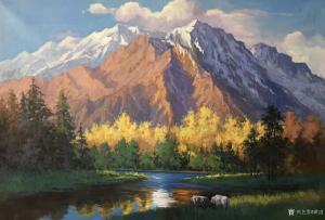 黄进油画作品《雪山下3》议价