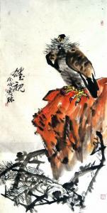 甘庆琼国画《雄视》