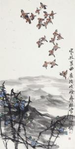 甘庆琼国画作品-《寒林晨曲》