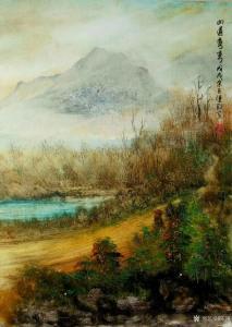 陈刚国画作品《山道弯弯》价格1500.00元