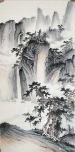 李伟成国画作品《山涧垂钓》价格1000.00元