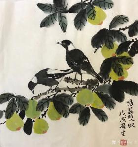 石广生国画《鸣荔双收》