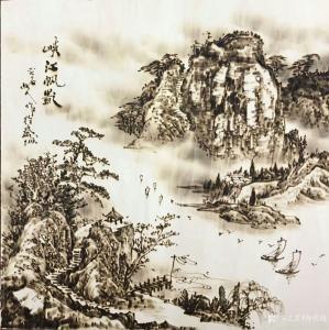 孙传海手工作品-《峡江帆影》