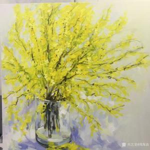 周海波油画作品《迎春花》价格1000.00元