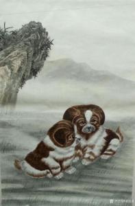 姜进清国画作品《宠物狗》价格600.00元
