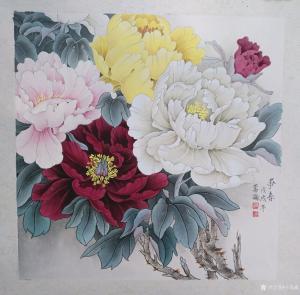 王嵩淼国画作品《争艳》议价