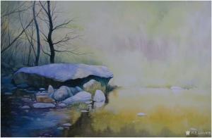 冯保民油画作品《宁静的湖畔》价格5000.00元
