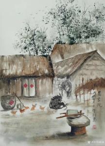 陈刚国画《农家院》