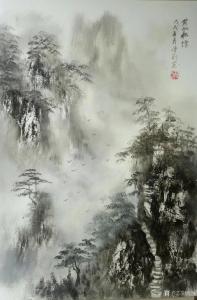陈刚国画《黄山松烟》
