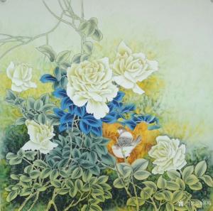 韩梅国画作品《鸟语花香》议价