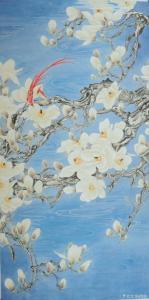 韩梅国画作品《玉兰双寿图》议价