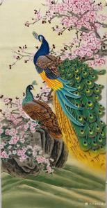 王振立国画作品《孔雀  翠羽凝香》价格1200.00元