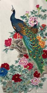 王振立国画作品《孔雀  富贵吉祥》价格1200.00元