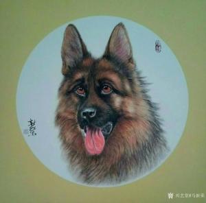 马新荣国画作品《牧羊犬》价格1000.00元