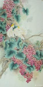 韩梅国画《鹦鹉葡萄》