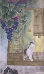 汪林国画作品《猫蝶图》价格800.00元