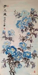 吉大华国画作品《梦之蓝》价格500.00元