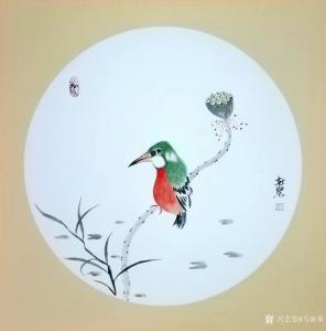 马新荣国画作品《翠鸟》价格600.00元