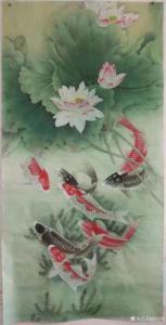 林丽姐国画作品《连年有余》价格400.00元